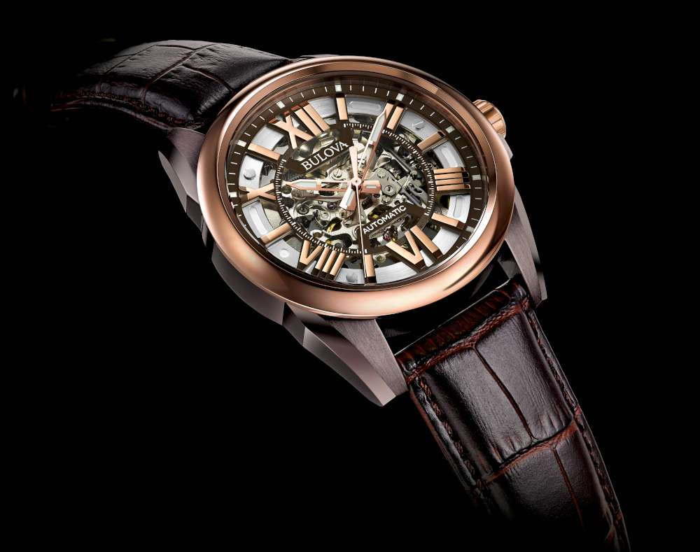 Bulova 98A165 Automatic Skeleton Men's Watch Rose Gold Brown Leather Strapメンズ腕時計