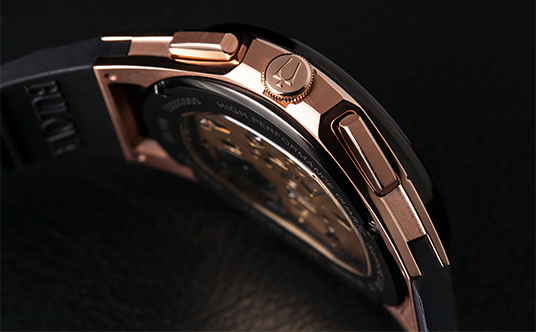 bulova men s curv rose gold and black chronograph black strap watch